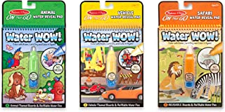 Melissa & Doug On the Go Water Wow! Reusable Water-Reveal Activity Pads, 3-pk, Vehicles, Animals, Safari