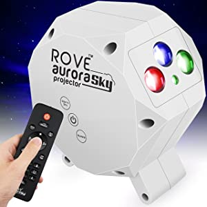 ROVE Aurora Sky Galaxy Projector - Laser Star Projector with Built-in Bluetooth Speaker and Remote, Multi-Color RGB LED Nebula Cloud for Bedroom Night Light, Game Room, Home Theater Mood Ambience