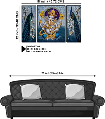 Indianara Set of 3 Lord Ganesha with Pair of Peacocks MDF Art Painting (3506 FL) without glass 4.5 X 12, 9 X 12, 4.5 X 12 INC