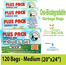 Naksam Biodegradable Garbage Bags Medium Size (20 X 24 inch) for Home,Office. 120 Bags (Black Colour)
