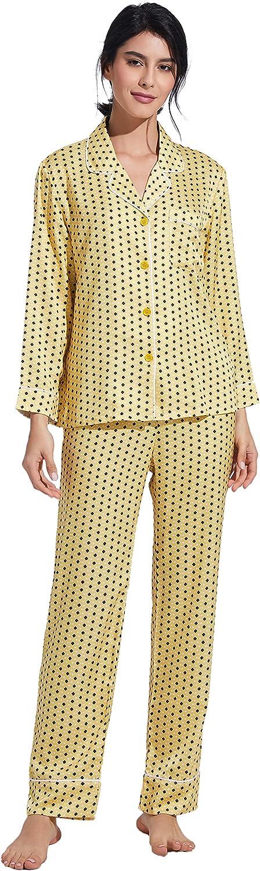 PRODESIGN Women Satin Pajamas Set Long Sleeve Satin Silk Pajams Button Down Sleepwear Lounge PJ Set