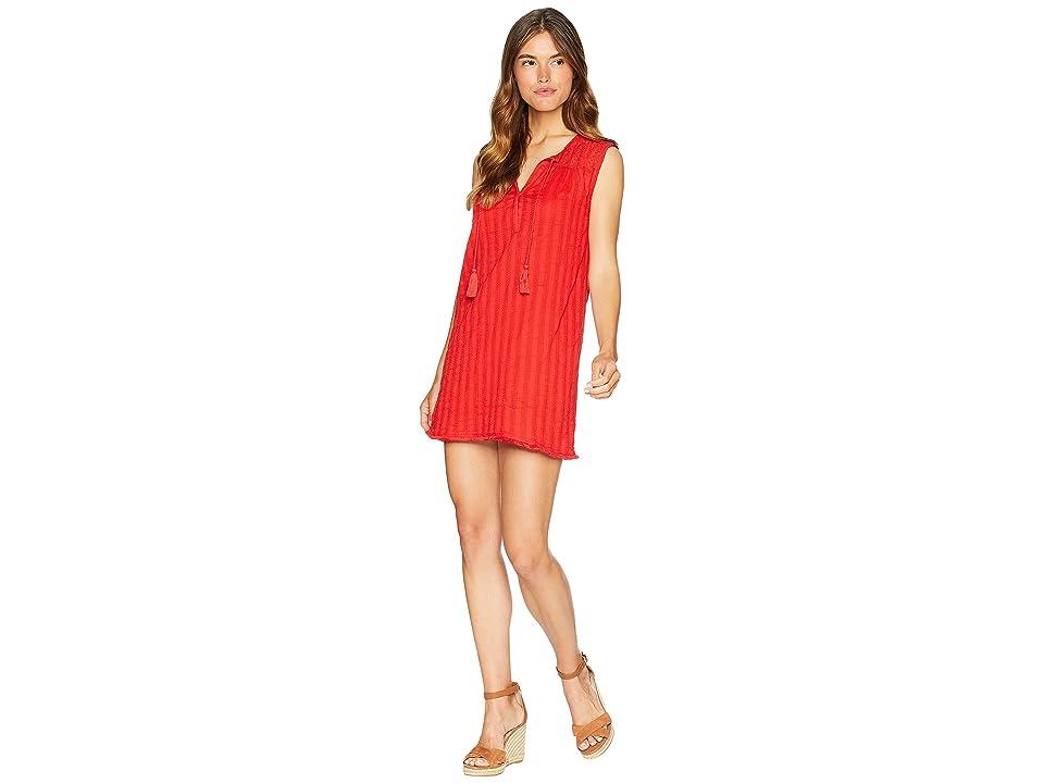 Michael Stars Braided Stripe with Lace Mix Shift Dress (Salsa) Women