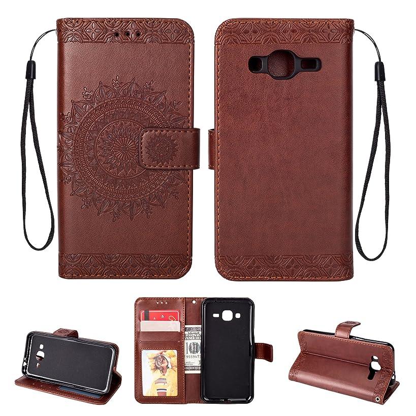 Galaxy J3 Case, J3 (2016) Case, Ankoe PU Emboss Mandala Flower Leather Wallet Case Stand Flip Case with Credit Card Slot for J3, J3 (2016), J3 V, Express Prime, Amp Prime, Galaxy Sky (Brown)