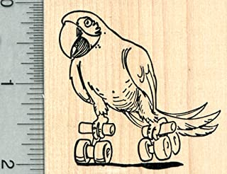 Skating Parrot Rubber Stamp, Macaw