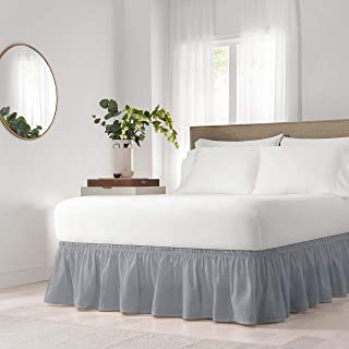 EasyFit Wrap Around Solid Ruffled Bed Skirt, Queen/King, Grey