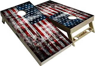 BackYardGames Vinyl Wraps Cornhole Board Decals American Flag Bag Toss Game Stickers (2X Wraps Skins only) Choose Between a varation of American Flags