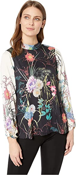 Florals Take Flight Rayon Stretch Satin Woven Lorena Top