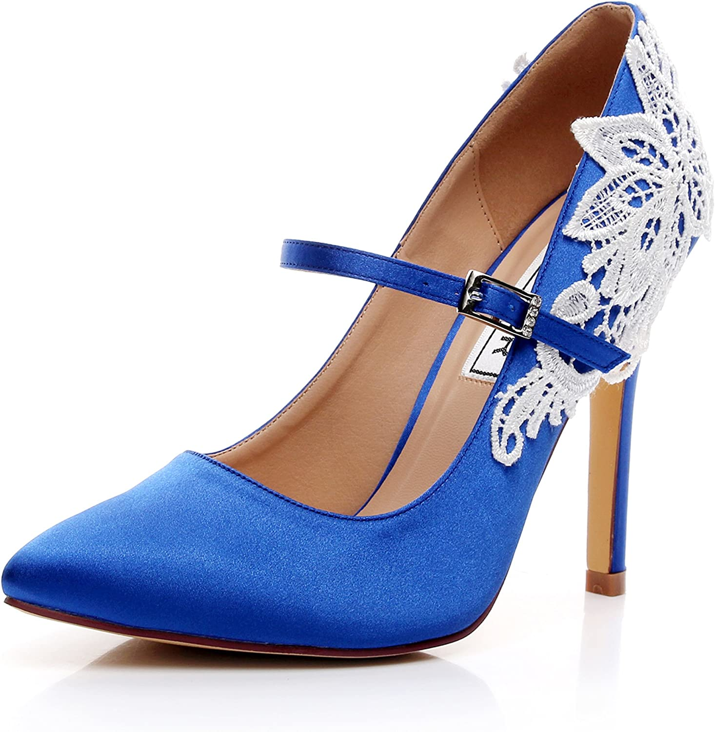 LUXVEER Satin Wedding shoes Sexy Women shoes with Lace Flowers Bridal shoes High Heel Evening shoes 4.5 inch RS-2064