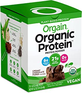 Orgain Organic Plant Based Protein Powder Travel Pack, Creamy Chocolate Fudge - Vegan, Low Net Carbs, Non Dairy, Gluten Fr...