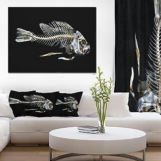 Fish Skeleton Bone on Black Animal Canvas Art Print