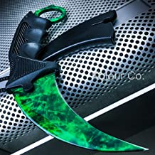 CS:GO EMERALD GAMMA Doppler Karambit Hawkbill Full Tang Tactical Neck Knife w/ABS Sheath - (Limited Edition) + FREE CSGO Dog Tag Necklace