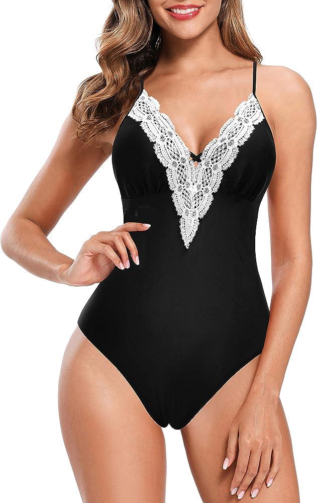 Shekini, costume da bagno per donna, intero, 82% poliammide, 18% elastan, nero-2 1182E