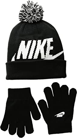 Swoosh Pom Beanie Gloves Set (Little Kids/Big Kids)