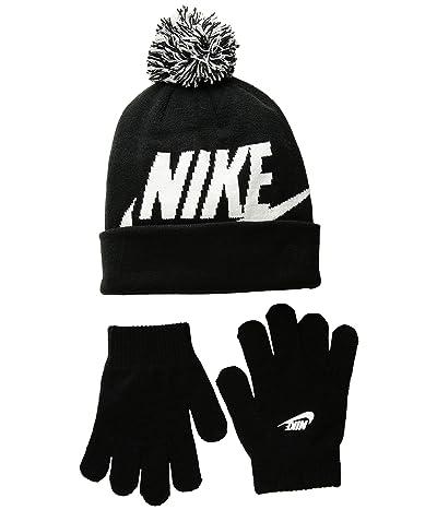 Nike Kids Swoosh Pom Beanie Gloves Set (Little Kids/Big Kids) (Black) Beanies