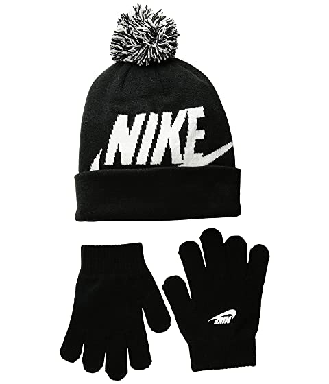new products f6438 bc7c4 Nike Kids Swoosh Pom Beanie Gloves Set (Little Kids Big Kids) at ...