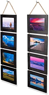 Wallniture Wood Photo Collage Picture Frame Black Finish Total 8 Opening for 4x6 Inch Photos Wall Mountable Ready to Hang Vertical Gallery Décor