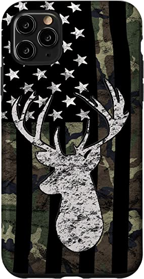 iPhone 11 Pro Max Whitetail Buck Deer Hunting American Camouflage USA Flag Case