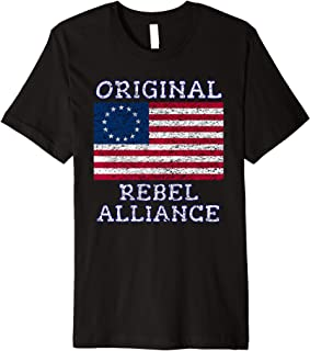 Betsy Ross Rebel July 4th American Pride Flag 1776 Retro Premium T-Shirt