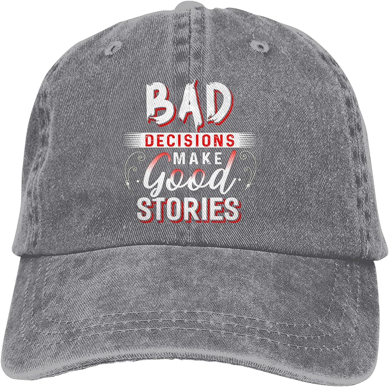 Cellova Bad Decisions Make Good Stories-4 Hats,Baseball Jeans Cap Convenient Men Women Baseball Cap