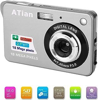 ATian Compactas Cámaras Digitales 2.7 Pulgadas LCD 8X Zoom Digital Anti-vibración Recargable HD Cámara Digital para Estudiantes/Adultos Mayores/niños (Plateado)