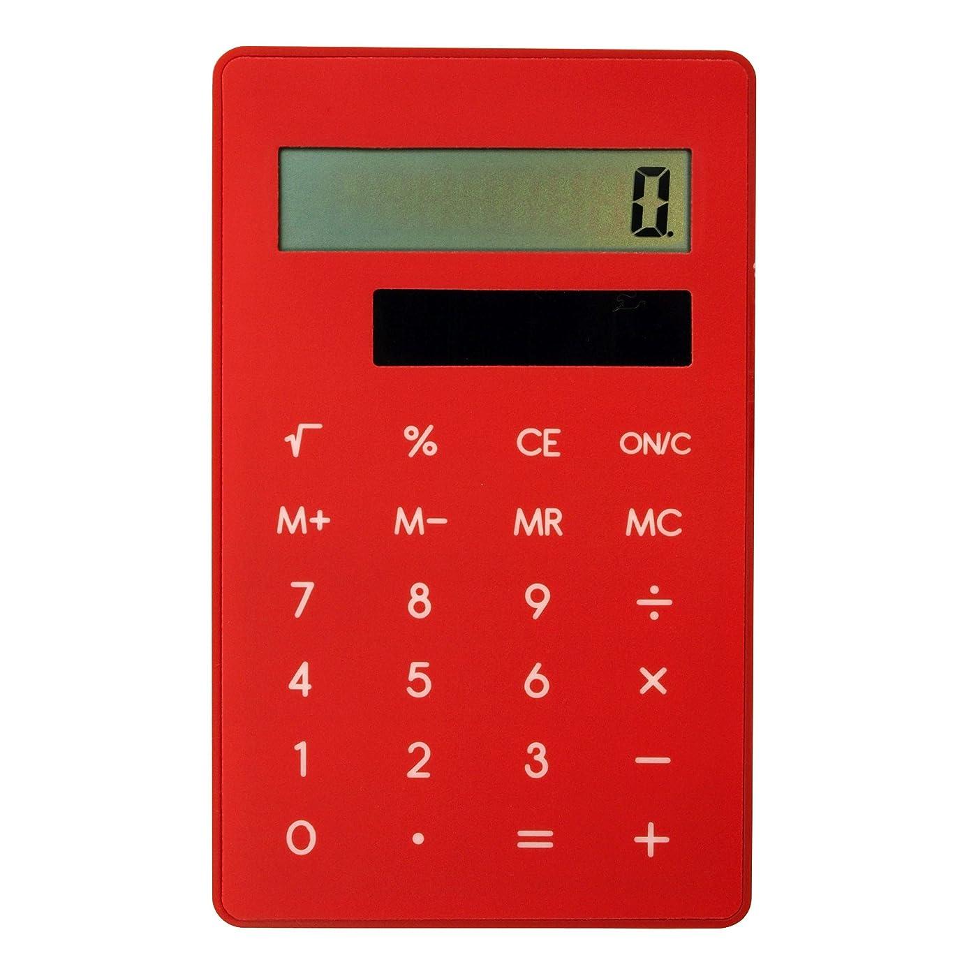 明らかに冷笑する非効率的なクリップ電卓 8桁【レッド】 DP129 RE
