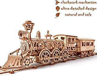 Wood Trick Wooden Toy Train Set with Railway - 34x7″ - Locomotive Train Toy Mechanical Model Kit - 3D Wooden Puzzle, Brain Teaser for Adults and Kids, Best DIY Toy