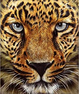 DIY 5D Diamond Painting by Number Kits, Full Drill Crystal Rhinestone Embroidery Pictures Arts Craft for Home Wall Decor Gift,Leopard Tiger