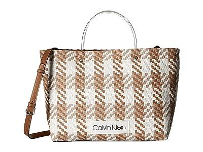 Calvin Klein Morgan Woven Novelty Medium Tote (Camel/White) Handbags