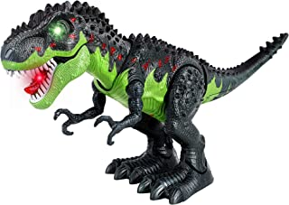 FiGoal Electronic Walking Dinosaur with LED Light, Realistic T-Rex Dinosaur Toy with Light Up, Sound, Walking Motion and S...