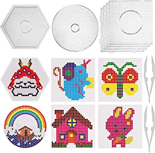 SAVITA 6 Pieces 5mm Fuse Beads Boards Clear Plastic Pegboards Kit, Square Round Hexagon Shape Pegboards with 6 Pattern Template Paper Cards and 2 White Tweezers for Children Craft Beads Supplies