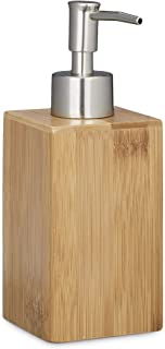 Relaxdays Bamboo Square Soap Dispenser, Manual, Size: 18 x 6.5 x 8 cm, Lotion Dispenser, Natural