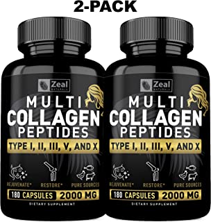 [2-pack] Multi Collagen Peptides Pills (?,?,?,?,? - 360 Capsules) 100% Pure Hydrolyzed Collagen Pills from Grass Fed Collagen, Marine & Chicken for Hair Skin and Nails, Joint Support for women and men