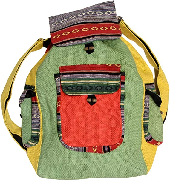 gift for friend SMALL HIPPIE backpack unisex accessories festival backpack shoe bag Rasta drawstring backpack