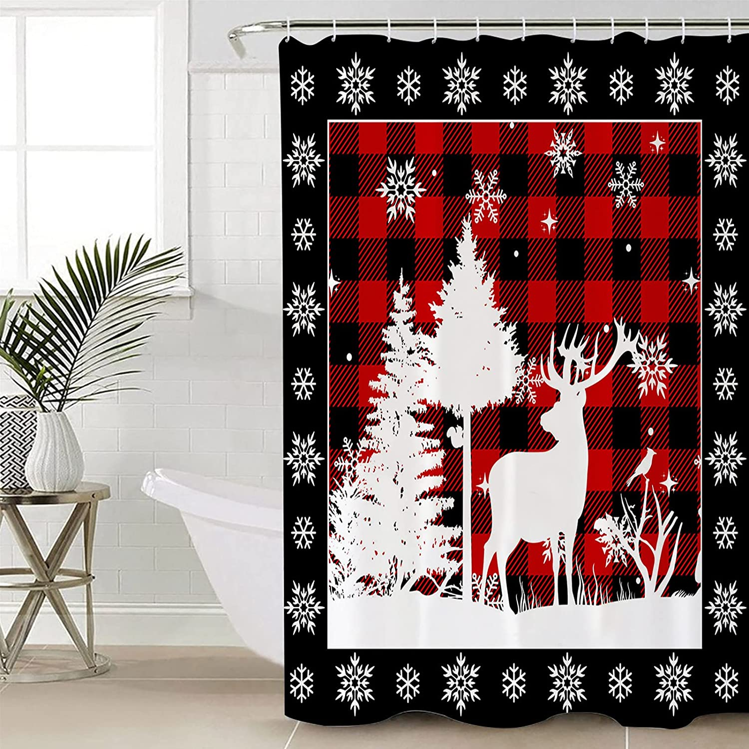 Anzona Special price White Xmas Tree Attention brand Elk Curtains Waterproof Snowflake Shower