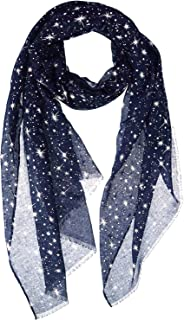 Silver Glitters Shimmer Foil Stars Women Scarf Shawl Wrap With Snowflake Scarves Clip