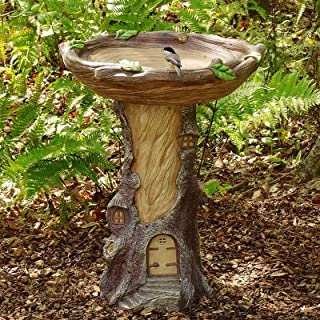ZLHW Miniature Fairy House Tree Stump, Hand-Painted Wood-Look Garden Landscape, Resin Ornament Bird Bath, Outdoor Tree St...