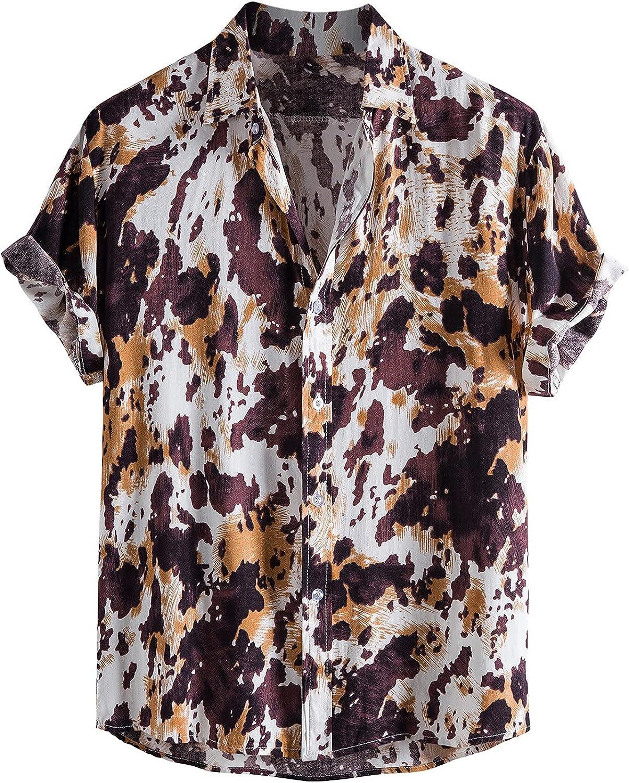 Men's Flower Casual Short Sleeve Shirts Summer Hawaiian Print Linen Cotton Button Down Beach Shirt