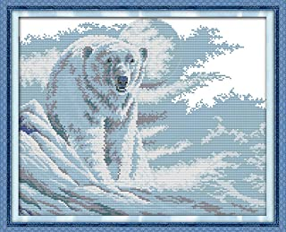 CaptainCrafts Hots Cross Stitch Kits Patterns Embroidery Kit - Polar Bear (STAMPED)