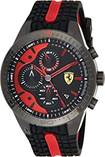 Ferrari Mens Quartz Watch, Chronograph Display and Silicone Strap 830592