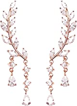 EVERU CZ Vine Jewelry Sweep Wrap Crystal Rose Gold Plated Leaf Ear Cuffs Set Stud Earrings for Women