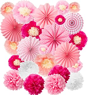 24 Pieces Party Hanging Set, Including 12 Tissue Paper Flowers Decorations, 6 Pink Paper Fans Garlands Decoration, 6 Paper Poms Ball Decoration Flowers Craft Kit for Birthday Baby Shower Festival