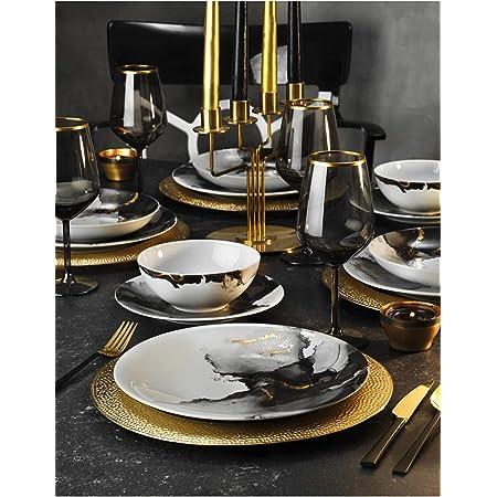 Service de table 24 pièces en porcelaine pour 6 personnes, assiettes creuses, assiettes plates, assiettes à dessert et bols, service de table moderne vintage (noir)