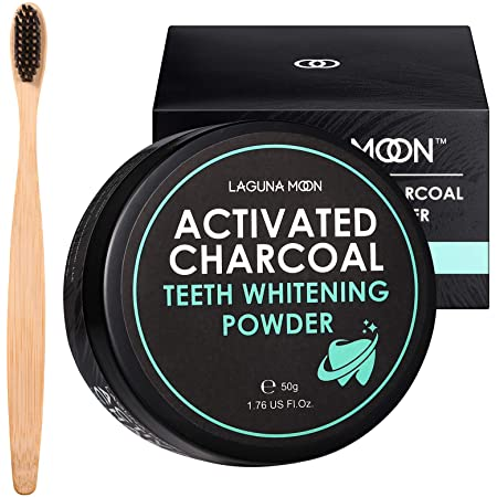 Activated Charcoal Natural Teeth Whitening Powder with Bamboo Brush by Lagunamoon- No Hurt on Enamel or Gum, Alternative to Toothpaste, Strips, Kits, Gels, Upgrade 2021 Formula, 50g/1.76oz