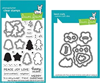 Lawn Fawn How You Bean Christmas Cookie Add-on 4x6 Clear Stamp Set and Coordinating Die Set, Bundle of 2 Items (LF2033, LF2034)