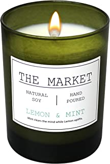Scentsational THE MARKET Revitalizing Aromatherapy Essential Oil Scented Soy Candle (Lemon & Mint)