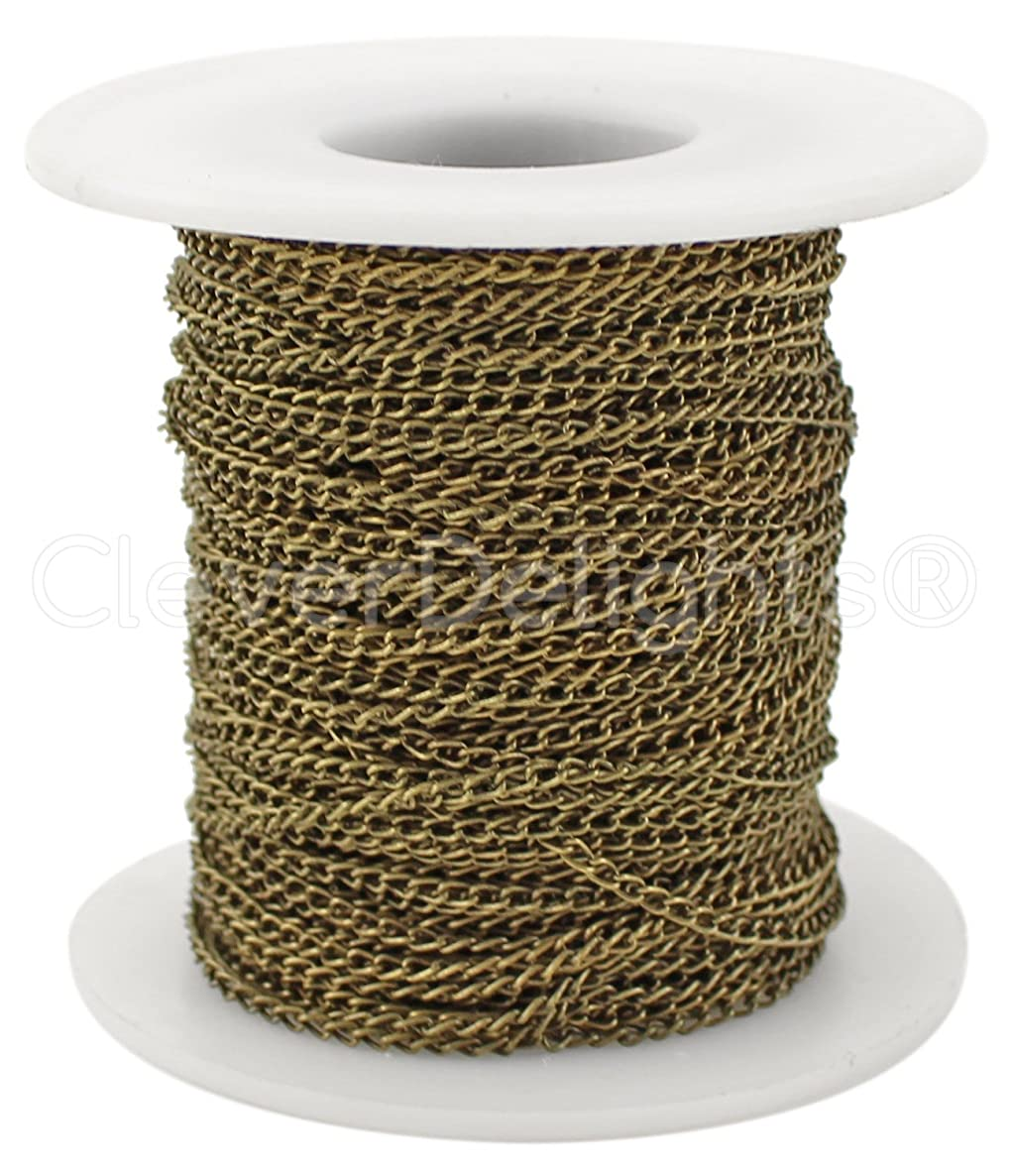 CleverDelights Curb Chain Spool - 2x3mm Link - Antique Bronze Color - 30 Feet - Bulk Jewelry Dainty Chain Roll