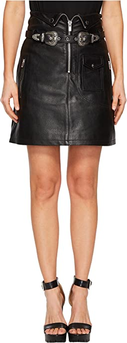 Leather Skirt with Zip Detail and Buckles