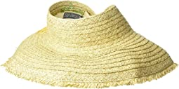 PBV016 - Paper Straw Visor with Embroidered Pineapple and Fray Edge