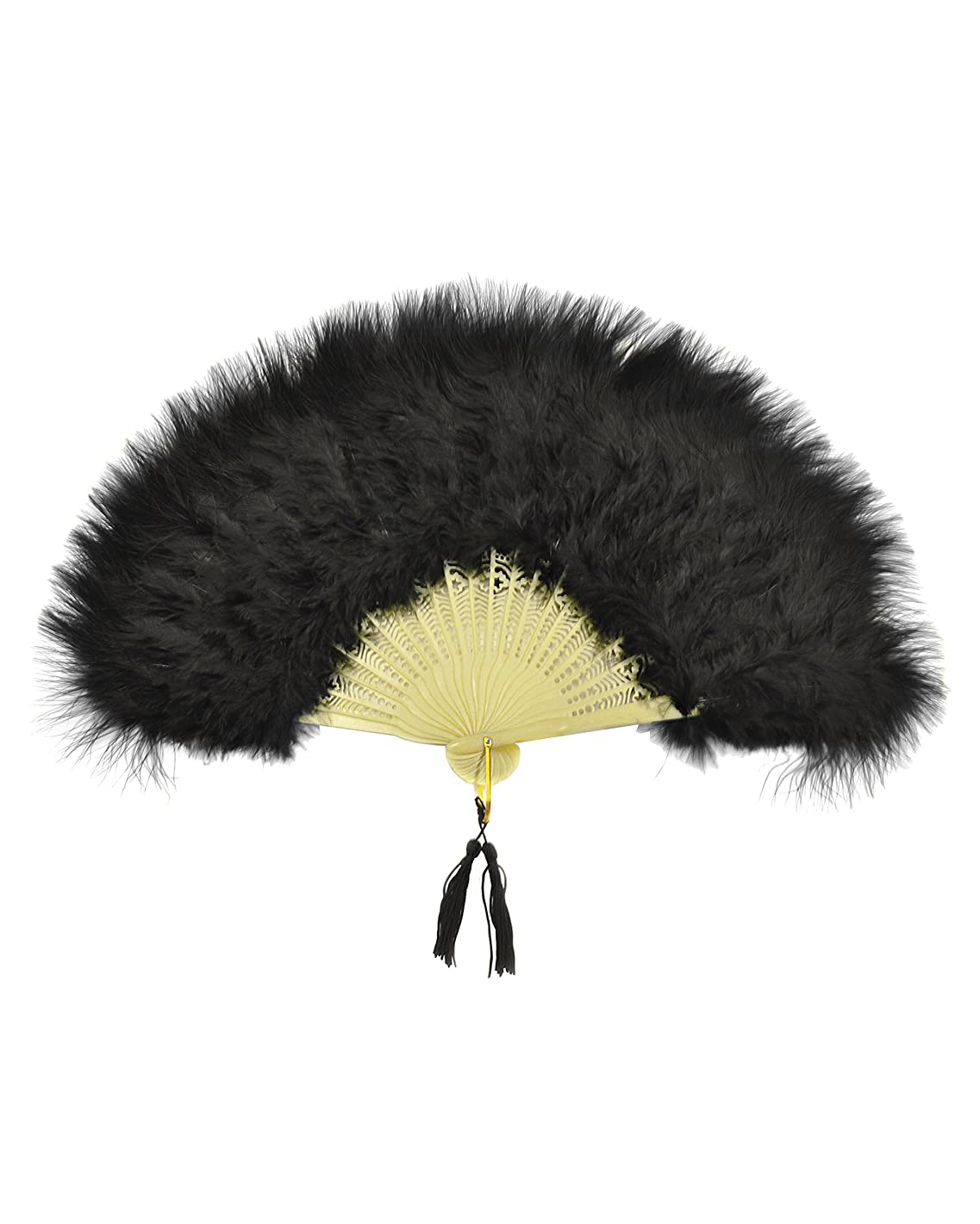 12 Inch Black Fold Out Marabou Feather Fan Classy Costume Accessory