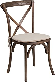 Flash Furniture HERCULES Series Stackable Early American Wood Cross Back Chair with Cushion